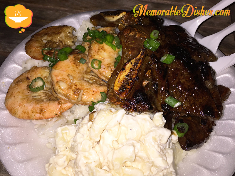 Garlic Shrimp and Kalbi Plate
