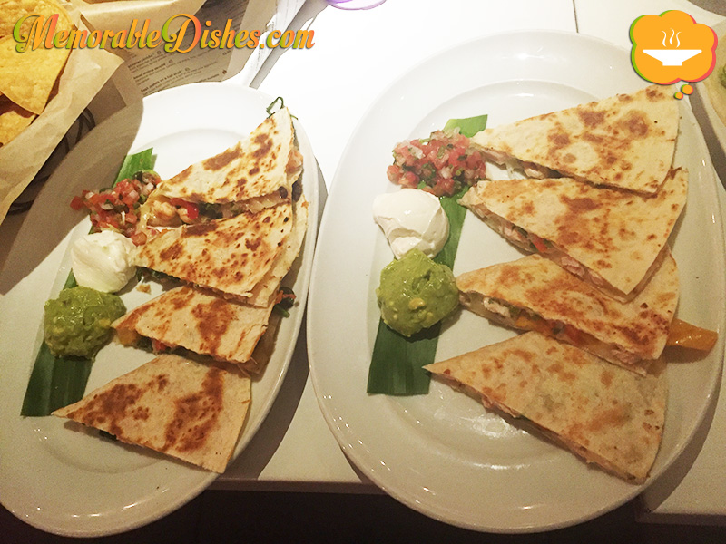 Jidori Chicken & Rajas Quesadilla and Kauai Shrimp Quesadilla