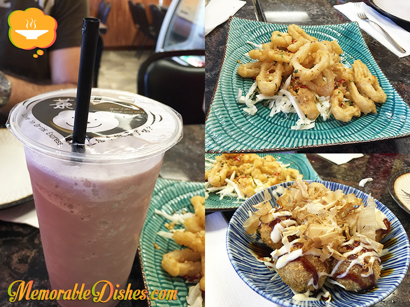 Taro Milk Tea, Fried Calamari, Takoyaki