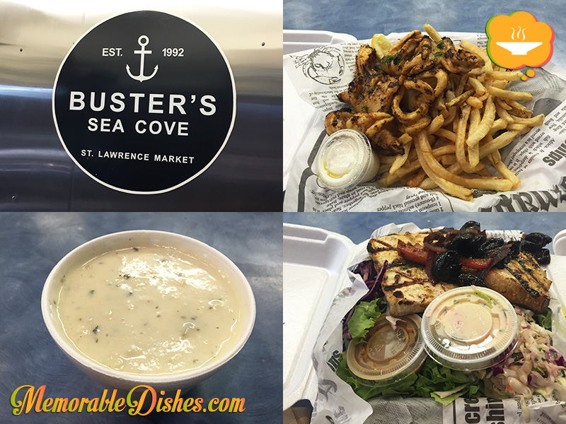 Buster's Sea Cove - Grilled Calamari, Grilled Halibut, Clam Chowder