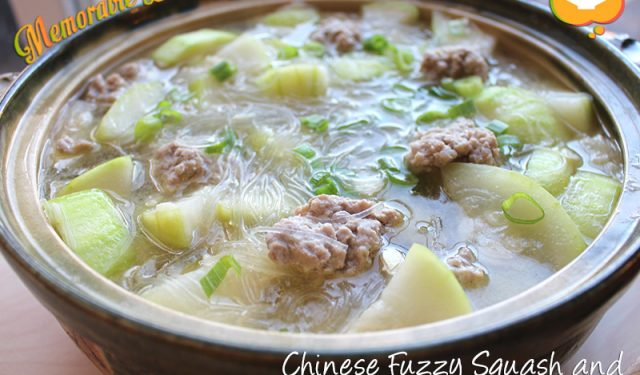 Chinese Fuzzy Squash and Pork Meatballs Stew