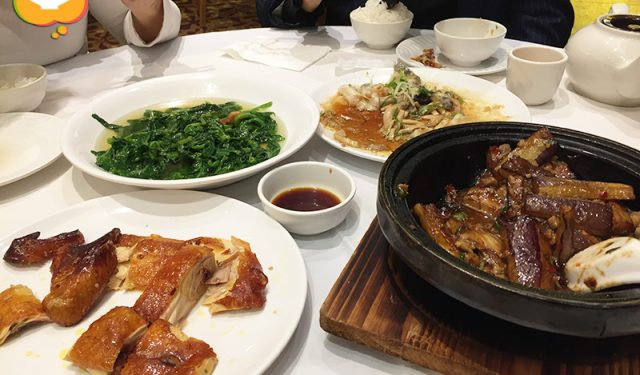 Dinner at Tao Heung - Crispy Chicken, Sautéed Pea Shoots in Broth, Steamed Garlic Giant Grouper (龍躉) Slices, Fish Fragrant Eggplant (鱼香茄子)
